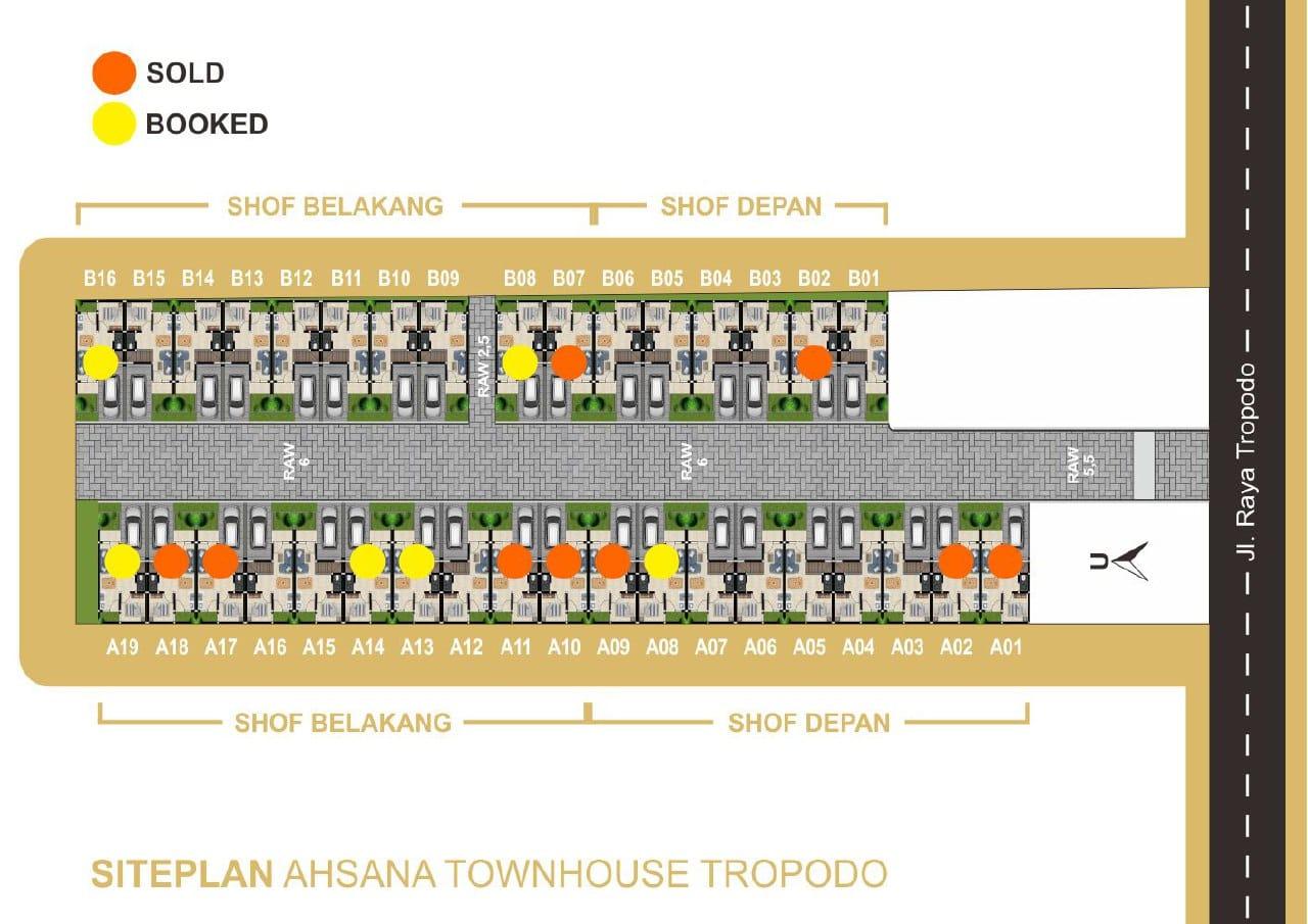 Siteplan Perumahan Ahsana Townhouse Tropodo Mojokerto